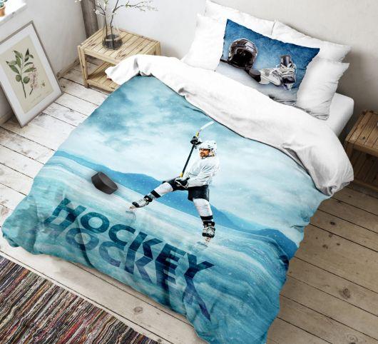 3D obliečky 140x200, 70x90cm Hokej
