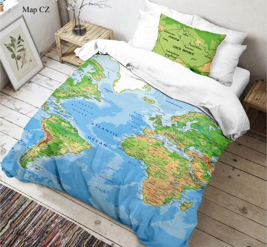 3D obliečky 140x200, 70x90cm Mapa sveta