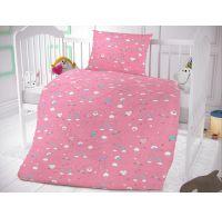 Bavlnené obliečky do detskej postieľky Obláčiky ružové