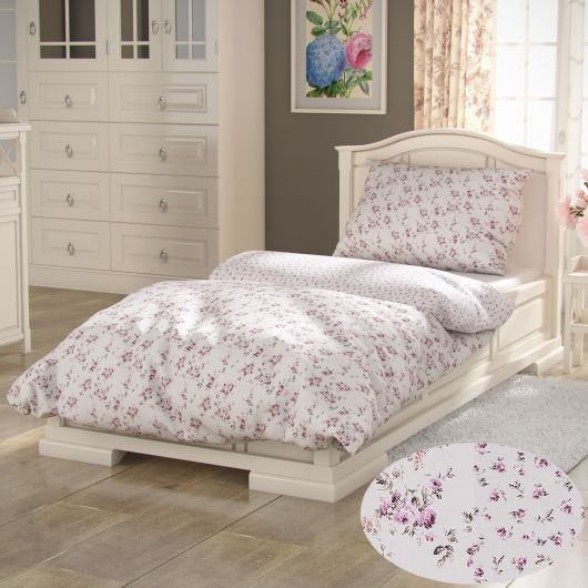 Bavlnené posteľné obliečky PROVENCE COLLECTION 140x200, 70x90cm ROSE fialové