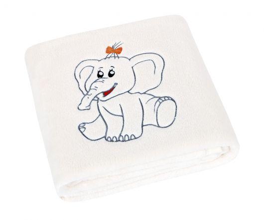 Detská prikrývka Micro 75x100cm s výšivkou sloník biela