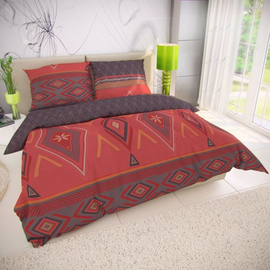 Francúzske bavlnené obliečky 220x200, 70x90cm ZAHIRA červená