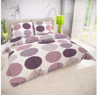 Francúzske bavlnené obliečky AVA fialová 200x200, 70x90cm