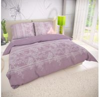 Francúzske bavlnené obliečky BOVA fialová 200x200, 70x90cm