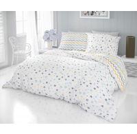 Francúzske bavlnené obliečky DELUX 200x200, 70x90cm DUO modré
