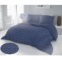 Francúzske bavlnené obliečky DELUX 200x200, 70x90cm HVIEZDY modré