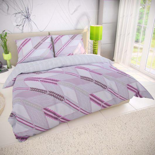 Francúzske bavlnené obliečky DELUX AZUR fialové 220x200, 70x90cm