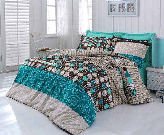 Francúzske bavlnené obliečky DELUX CIRCLES 240x200, 70x90cm