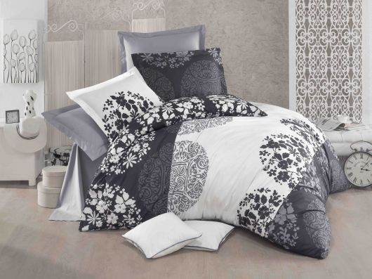 Francúzske bavlnené obliečky DELUX GREY FIELDS 240x200, 70x90cm