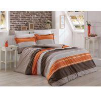 Francúzské bavlnené obliečky DELUX Salmon stripe 220x200, 70x90cm