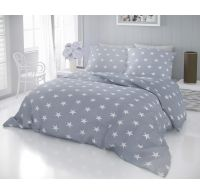 Francúzske bavlnené obliečky DELUX STARS sivé 220x200, 70x90cm
