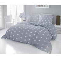 Francúzske bavlnené obliečky DELUX STARS sivé 240x200, 70x90cm