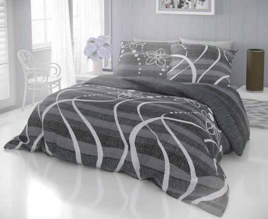 Francúzske bavlnené obliečky DELUX VALERY sivé 200x200, 70x90cm