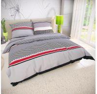 Francúzske bavlnené obliečky 220x200, 70x90cm GRID sivé