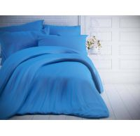 Francúzske jednofarebné bavlnené obliečky 200x200, 70x90cm modré