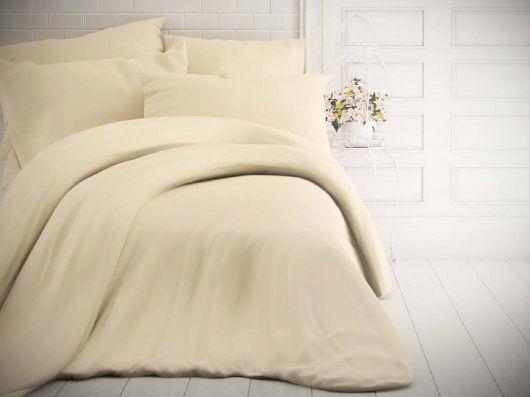 Francúzske jednofarebné bavlnené obliečky 200x200, 70x90cm smotanové