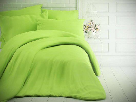 Francúzske jednofarebné bavlnené obliečky 200x200, 70x90cm svetlo zelené