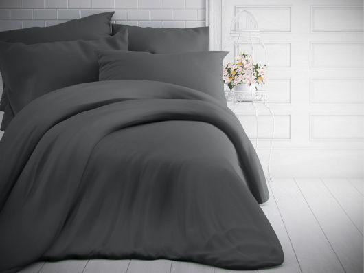 Francúzske jednofarebné bavlnené obliečky 200x200, 70x90cm tmavo sivé