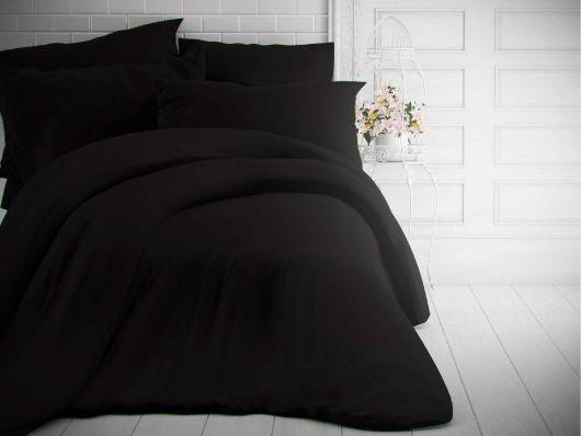 Francúzske jednofarebné bavlnené obliečky 220x200, 70x90cm čierne