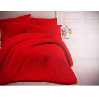 Francúzske jednofarebné bavlnené obliečky 220x200, 70x90cm červené
