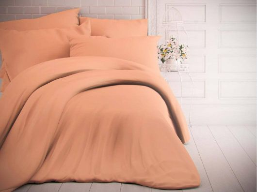 Francúzske jednofarebné bavlnené obliečky 220x200, 70x90cm lososové