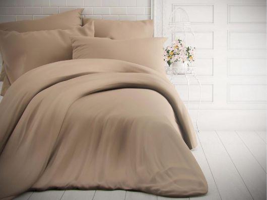 Francúzske jednofarebné bavlnené obliečky 240x200, 70x90cm béžové