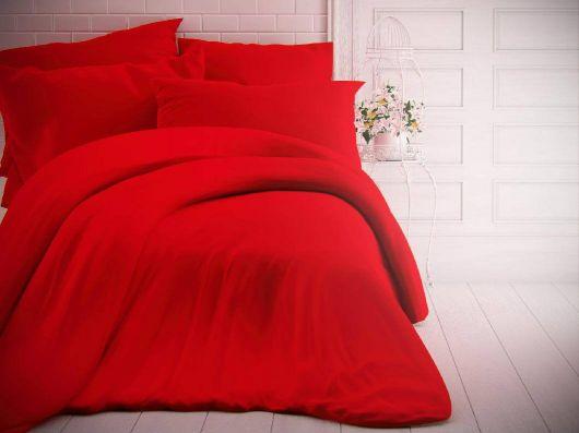 Francúzske jednofarebné bavlnené obliečky 240x200, 70x90cm červené