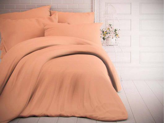 Francúzske jednofarebné bavlnené obliečky 240x200, 70x90cm lososové