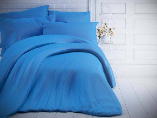 Francúzske jednofarebné bavlnené obliečky 240x200, 70x90cm modré