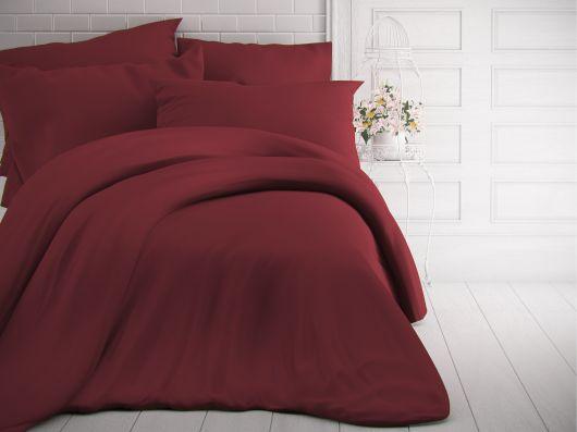 Francúzske jednofarebné bavlnené obliečky 240x200, 70x90cm bordó