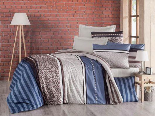 Francúzske krepové obliečky 240x200, 70x90cm Stripes modré