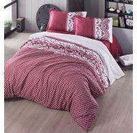 Francúzske predľžené bavlnené obliečky CANZONE červené 240x220, 70x90cm
