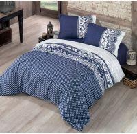 Francúzske predľžené bavlnené obliečky CANZONE modré 240x220, 70x90cm
