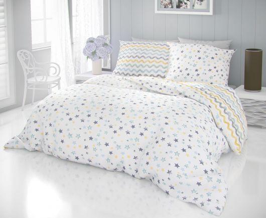 Francúzske predĺžené bavlnené obliečky DELUX 240x220, 70x90cm DUO modré