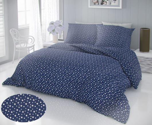 Francúzske predĺžené bavlnené obliečky DELUX 240x220, 70x90cm HVIEZDY modré