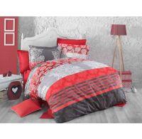 Francúzské predľžené bavlnené obliečky DELUX Red stripes 240x220, 70x90cm