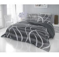 Francúzske predĺžené bavlnené obliečky DELUX VALERY sivé 240x220, 70x90cm