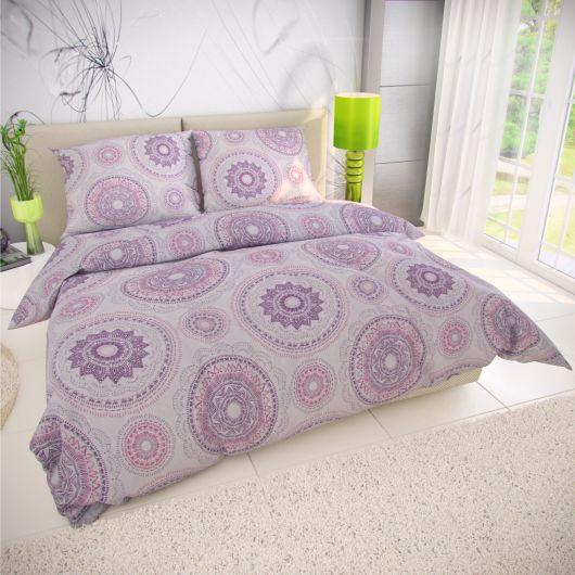 Francúzske predĺžené bavlnené obliečky MANILA fialová 240x220, 70x90cm