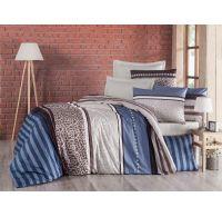 Francúzske predĺžené krepové obliečky 240x220, 70x90cm Stripes modré