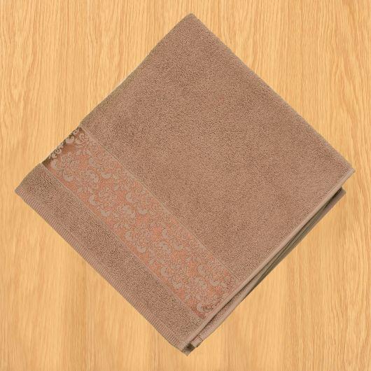 Froté osuška bordúra 70x140cm tmavo béžová