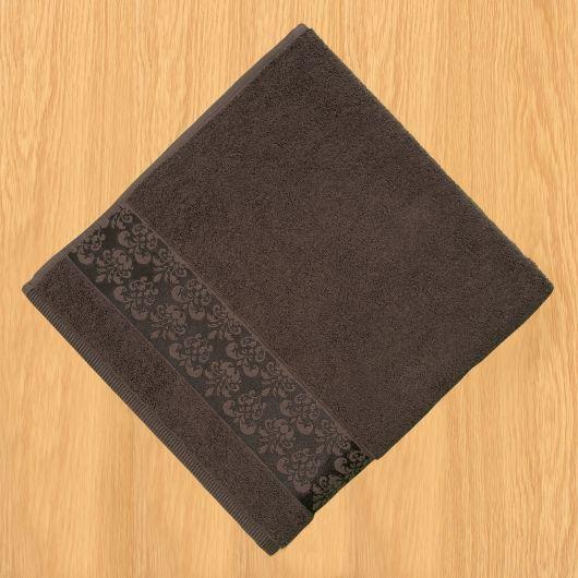 Froté osuška bordúra 70x140cm tmavo hnedá