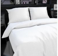 Hotelové obliečky atlas grádl 1cm prúžok 140x200,70x90cm biele