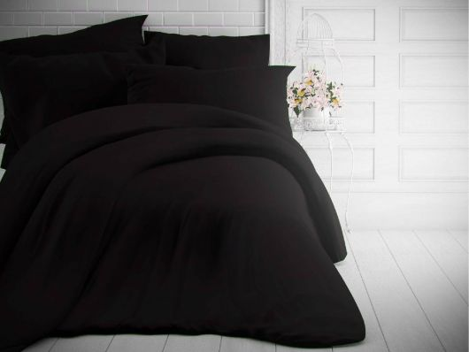 Jednofarebné bavlnené obliečky 140x200, 70x90cm čierne