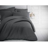 Jednofarebné bavlnené obliečky 140x200, 70x90cm tmavo sivé