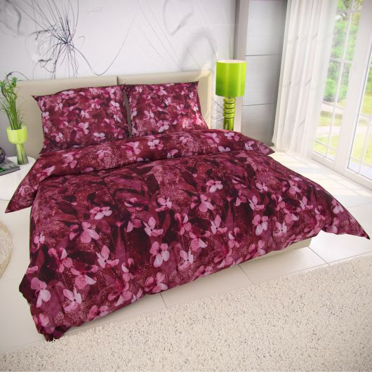 Klasické posteľné bavlnené obliečky 140x200, 70x90cm BOHEMIA bordó