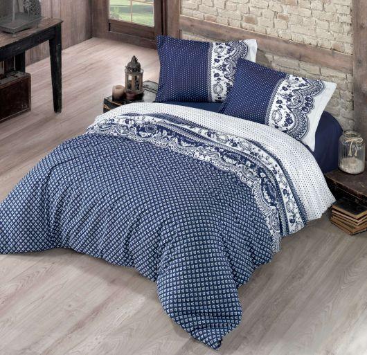 Posteľné bavlnené obliečky CANZONE modré 140x200, 70x90cm