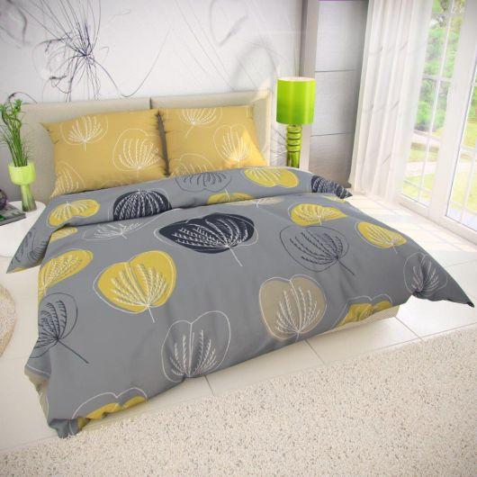 Klasické posteľné bavlnené obliečky 140x200, 70x90cm GRACE sivá