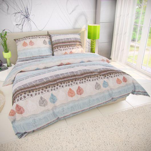 Klasické posteľné bavlnené obliečky 140x200, 70x90cm KAYA modrá
