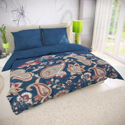 Klasické posteľné bavlnené obliečky 140x200, 70x90cm OLYMPIA petrolejová