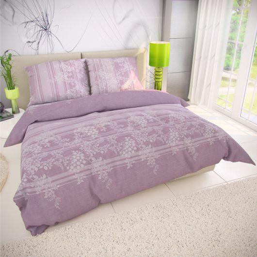 Klasické posteľné bavlnené obliečky BOVA fialová 140x200, 70x90cm